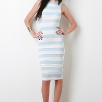 Bold Striped Midi Dress Color: Blue, Size: M