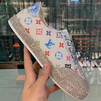 Louis vuitton LV new low cut breathable and hot drilling casual sneakers Shoes White