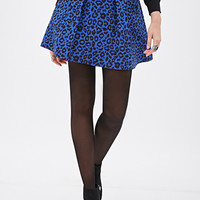 Pleated Leopard-Patterned Skirt