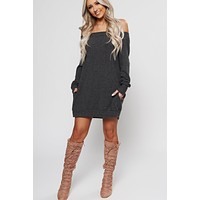 Missing That Off The Shoulder Tunic (Charcoal)