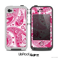 The Pink & White Paisley Pattern V421 Skin for the iPhone 5/5s or 4/4s LifeProof Case