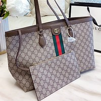 GUCCI New Fashion Stripe More Letter Print Leather Shoulder Bag Handbag Two Piece Suit