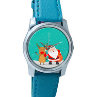 Santa And His Reindeer Friend Wrist Watch