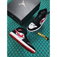 Air Jordan 1 MID Black/ White/ Red Graffiti Sneakers
