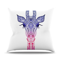 "Monika Strigel ""Rainbow Giraffe"" Outdoor Throw Pillow"