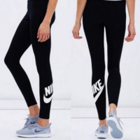 """ NIKE ""Fashion women Sports trousers ""NIKE""print Black pants"