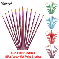 Bianyo 12Pcs Round Shape Nylon Hair 4 Colors Wooden Handle Paint Brush Set For Art School Watercolor Acrylic Painting Supplies