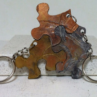 Leather 3 piece Puzzle Key chain Hand Painted Laser Engraved