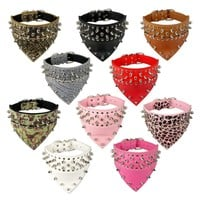 """2"""" Wide Pet Dog Bandana Collars Leather Spiked Studded Pet Dog Collar Scarf Neckerchief  Fit For Medium Large Dogs Pitbull Boxer"""