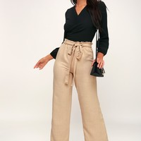 Vacay All Day Tan Wide-Leg Pants