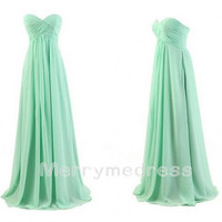 Mint Ruffled Sweetheart Strapless Empired Long Bridesmaid Dress, Floor Length Chiffon Formal Evening Party Prom Dress New Homecoming Dress