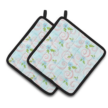 Watercolor Blue Flowers and Swirls Pair of Pot Holders BB7482PTHD