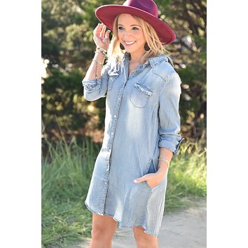 Let's Go Out  Dress - Chambray