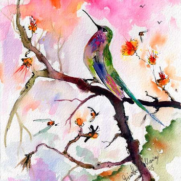 Sweet Hummingbird and Pink Sky Original Watercolor and Ink