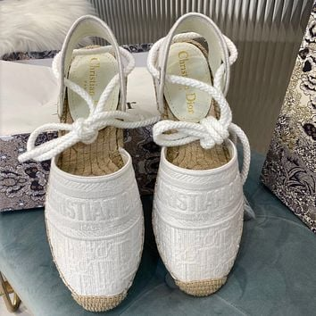 DIOR  Jacquard embroidered grass bottom fisherman's shoes
