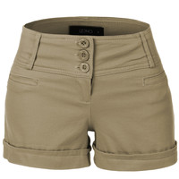 LE3NO Womens Medium Rise Fitted Shorts with Pockets (CLEARANCE)