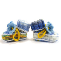Hand Knitted Baby Booties with Crochet Bell Flowers - Blue, White and Yellow,  3 - 6 months