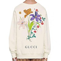 GUCCI Popular Men Women Casual Flower Letter Print Round Collar Sweater Sweatshirt Top