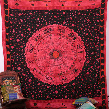 Beautiful Horoscope Zodiac Tapestry , Hippie Hippy Wall Hanging , Indian Tapestry Throw Bedspread Bed Decor Sheet Ethnic Decorative Wall Art