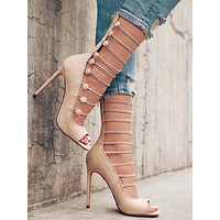 Hollow Buckle Fashion Women Fish Mouth High Heels Shoes