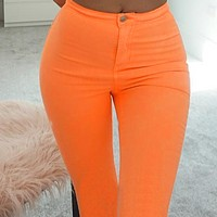 New high-waist fashion tight casual pants women
