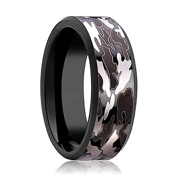 Men's Black Tungsten Wedding Band with Black & Gray Camo Inlay and Bevels - 8MM