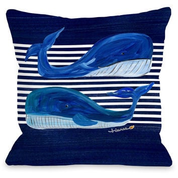 """Whale Buddies"" Indoor Throw Pillow by Timree Gold, Navy, 16""x16"""