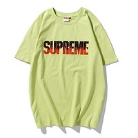 Supreme New fashion embroidery flame letter couple top t-shirt Green