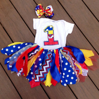 Carnival birthday Red, Yellow, Blue Birthday Outfit - primary color tutu - bright color birthday - circus birthday, birthday bow