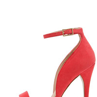 Kick Up Your Heels Red Suede Ankle Strap Heels