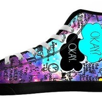 SNAIL Women's The Fault in Our Star High Top Casual Black Canvas Shoes US5