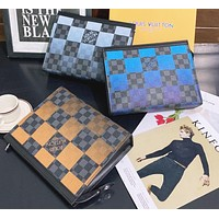 Louis Vuitton New Full Letter Large Check Envelope Bag Toiletry Bag Fashion Clip Bag Clutch Bag