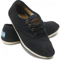 TOMS Shoes Black Canvas Cordones Lace-Up Women's Sneakers,