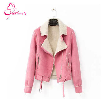 Sisibeauty 2015 Korean Style High Quality Suede 2 Colors Pink/Wine red Turn-down Collar Women Short Jacket Free Shipping 9