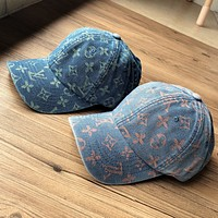 LV Louis Vuitton dark pattern full print logo denim cap baseball cap