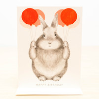 Red Balloons Birthday Bunny Greeting Card