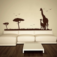 Wall Decal Vinyl Sticker Decals Art Decor Design Safari Animals Giraffe Tree Nature Wild World Kid Children Nursery Bedroom Fashion(r489)