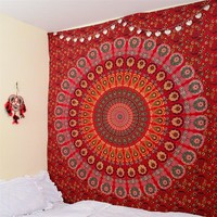 Cilected Red Peacock Mandala Tapestry Home Decor Wall Hanging Indian Beach Throw Blanket Rectangle Boho Bedspread 148x200cm