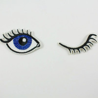 Wink Set of 2 Embroidered Patches / Iron-On Appliques - Winking Eyes