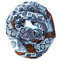Tapestry Print Infinity Scarf Womens Circle Scarf Paisley and Flower Printed Scarf Black Burnt Orange White Raspberry