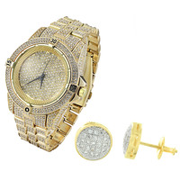 Men's Fully Iced Out 14k Yellow Gold Finish Lab diamonds Hip Hop Watch & Earrings Combo Set