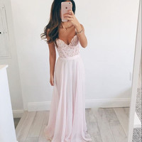 Lovely Pink Chiffon A-Line Prom Dresses