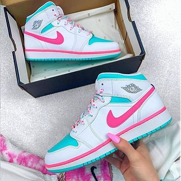 NIKE Air Jordan 1 Mid Digital Pink Women's basketball shoes