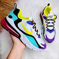 Hipgirls Nike AIR MAX 270 cushioning sports casual running shoes Yellow purple black