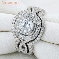 2.1Ct 3Pcs Solid 925 Sterling Silver Wedding Ring Sets