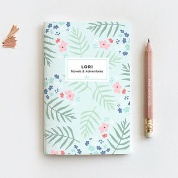 Personalized Notebook & Pencil Set - Mint Floral Illustrated Journal in Mini Large or Midori - 80 Pages