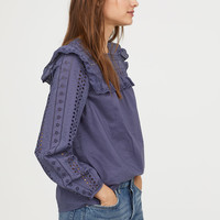 Blouse with Eyelet Embroidery - Blue - Ladies | H&M US