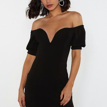 Deep 'Em Guessing Off-the-Shoulder Dress