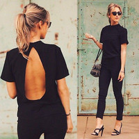 Womens Sexy Summer Loose Top Backless Short Sleeve Casual Tops T-Shirt ZH