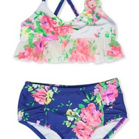 Toddler Girl's Hula Star 'Romance' Floral Print Two-Piece Swimsuit,